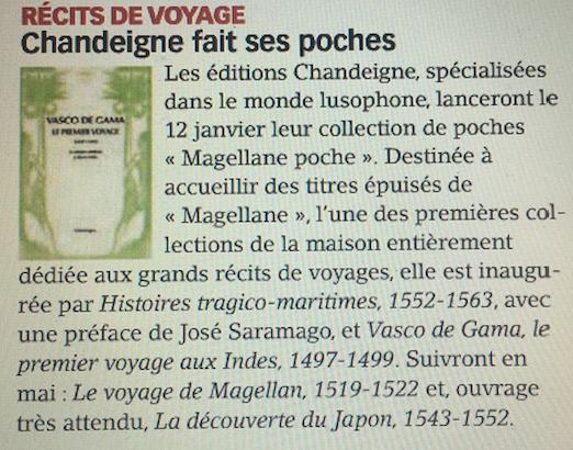 """Nouvelle collection """"Magellane poche"""" dans Livres Hebdo"""