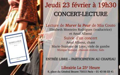 Concert-Lecture «Murer la Peur» autour du texte de Mia Couto