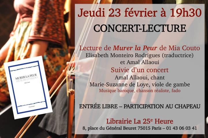 """Concert-Lecture """"Murer la Peur"""" autour du texte de Mia Couto"""